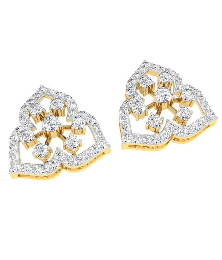 TBZ-The Original 18Kt Yellow Gold Evening Wear Stud Earrings with ...