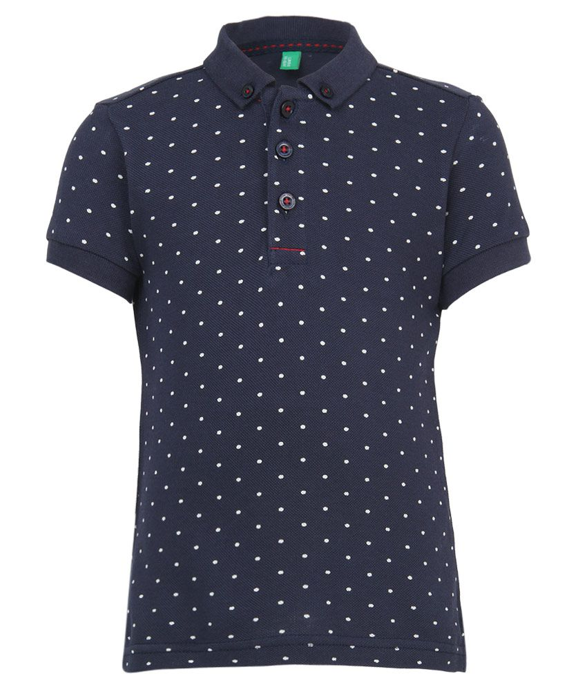 United Colors of Benetton Navy Printed Polo T-Shirt