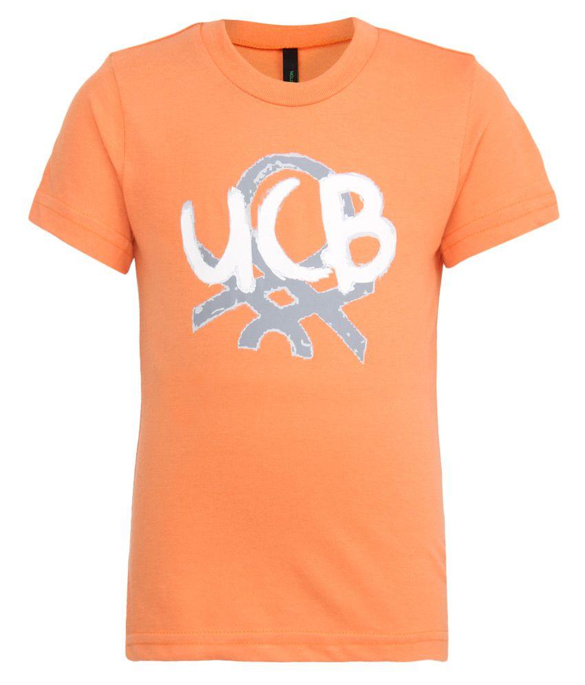 United Colors of Benetton Orange Printed T-Shirt