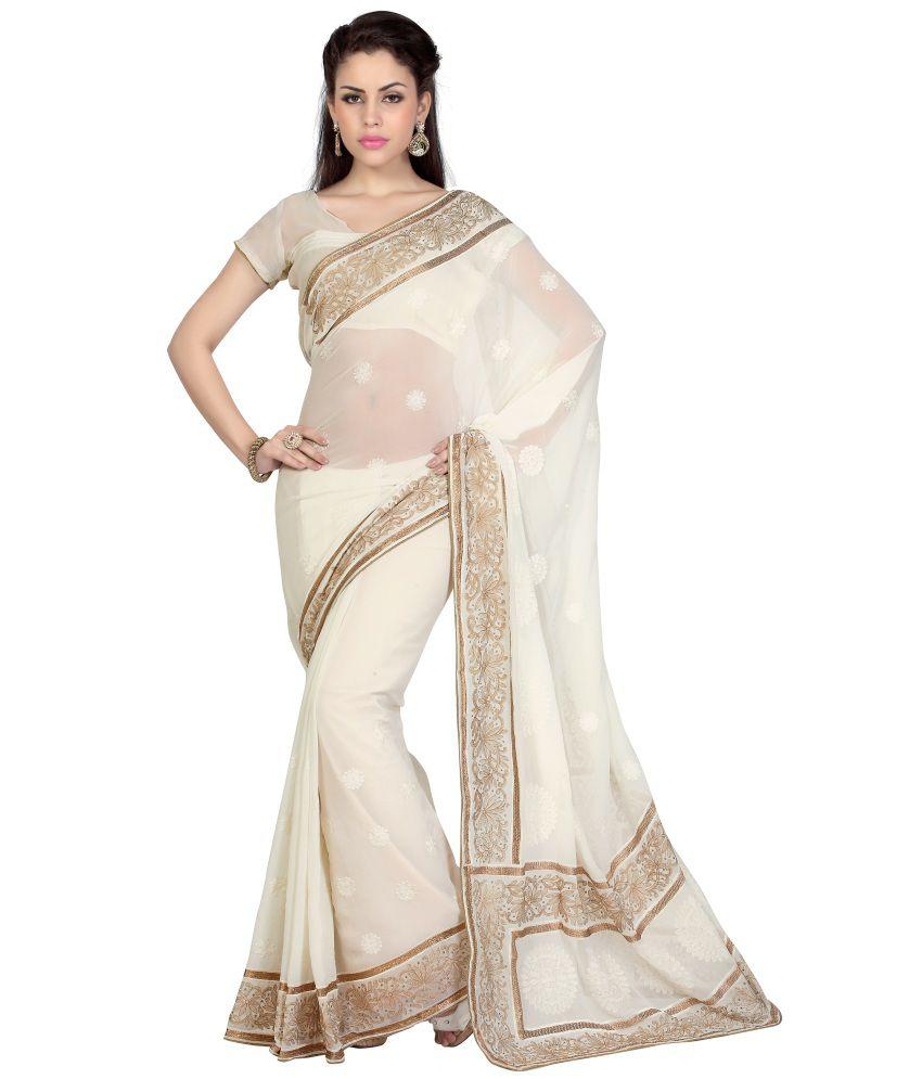 Aaradhya Fashion White Georgette Saree