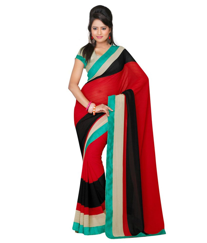 LD Fabrics Multicoloured Chiffon Saree
