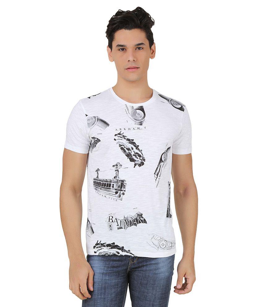 Arkham Asylum White Printed T-Shirt