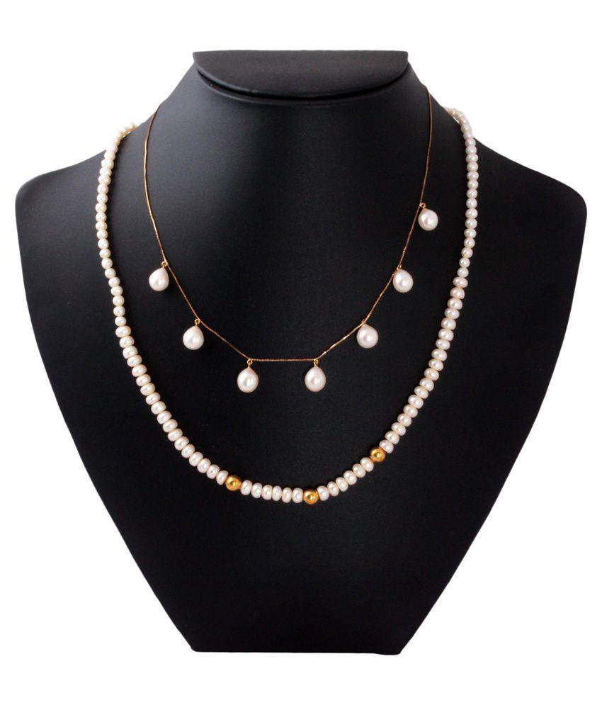Gemsshop White and Golden 18Kt Pearls Necklace