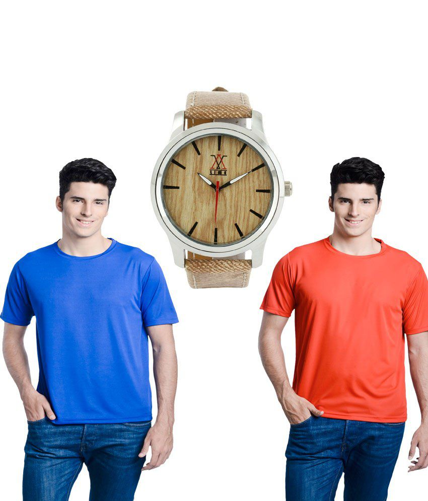 Lime Blue Round T Shirts 2 T Shirts With Watch