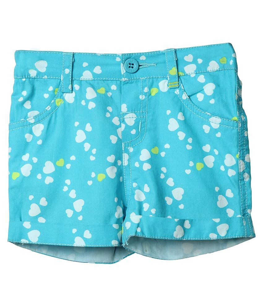 Beebay Turquoise Cotton Shorts For Girls