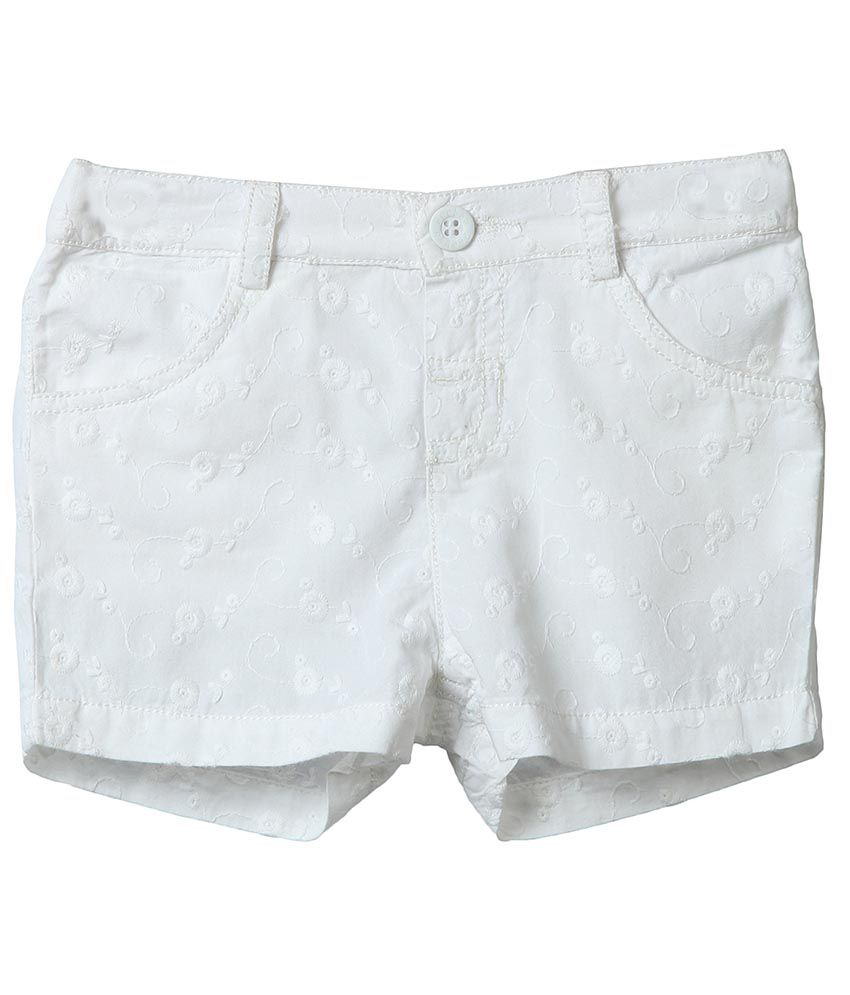 Beebay White Cotton Shorts For Girls