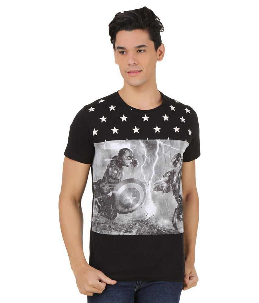 Civil War Black Printed T-Shirt