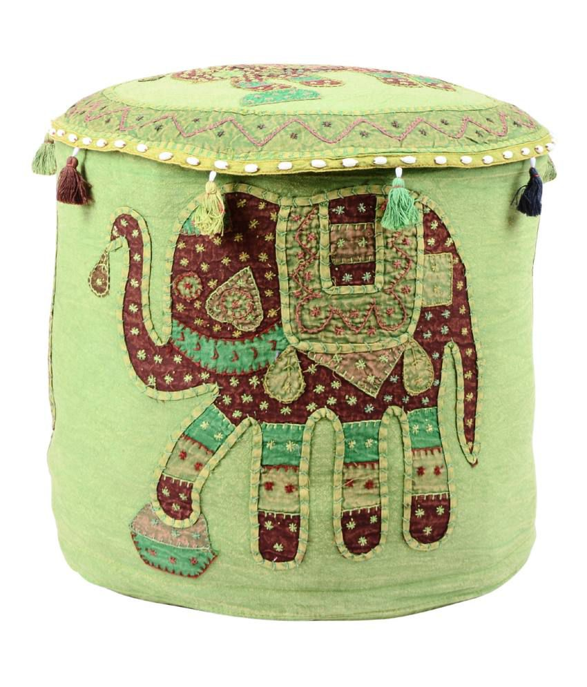 Rajrang Multicolour Cotton Pouf Cover