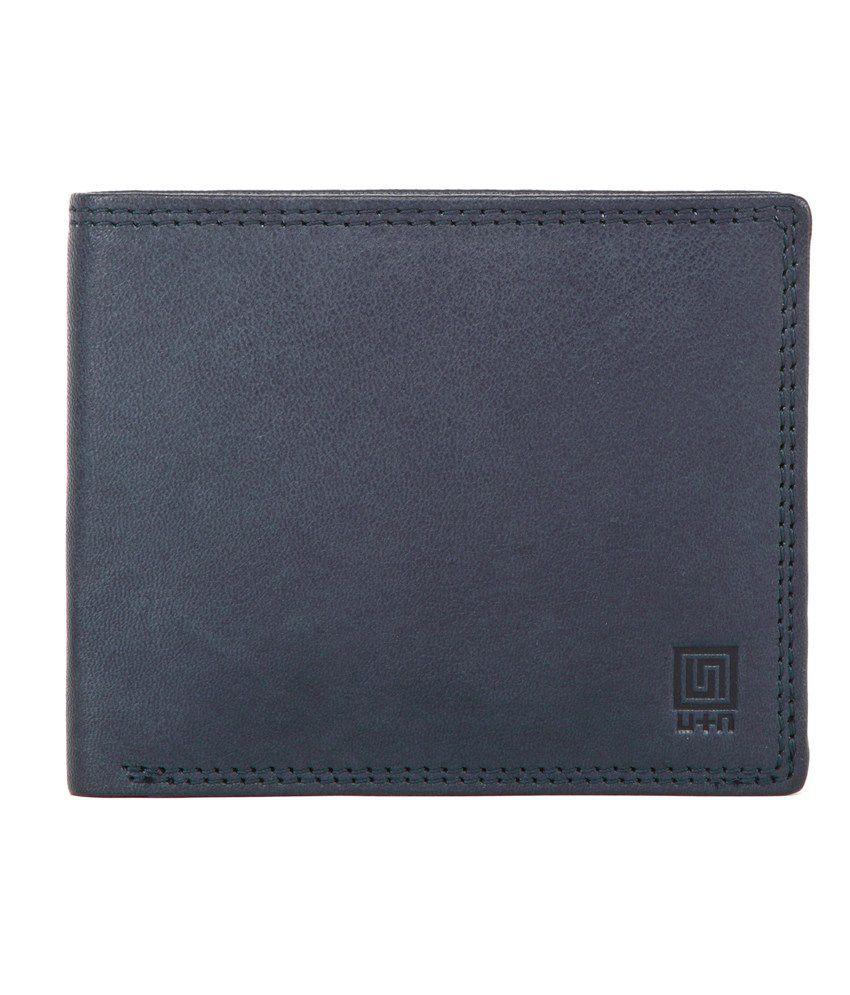 U+N Blue Leather Bi-Fold Wallet For Men