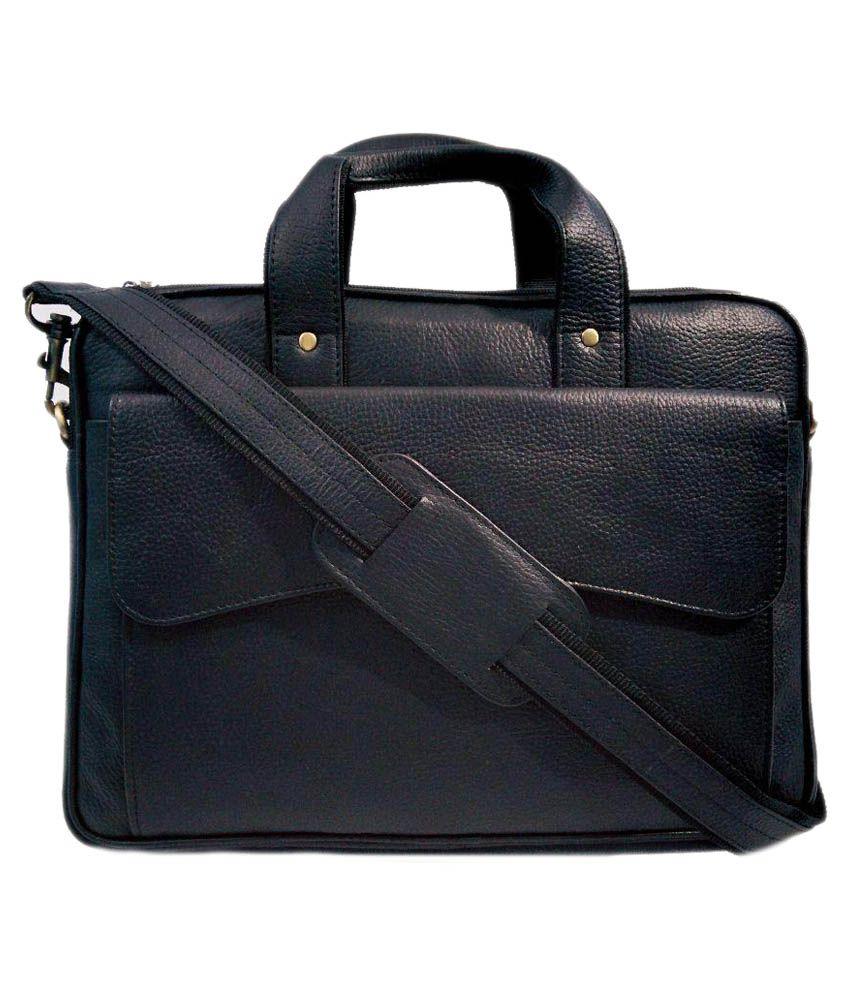 Y&W Black Leather Laptop Bag