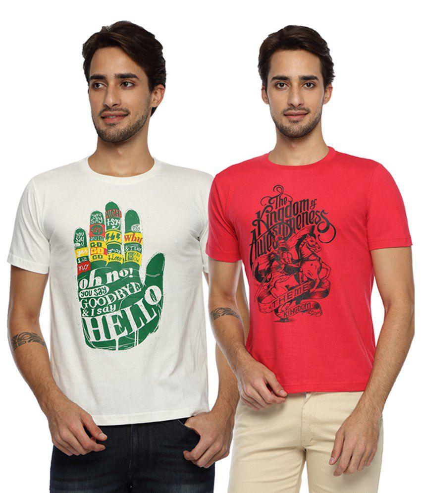 Afylish Red Round T Shirts