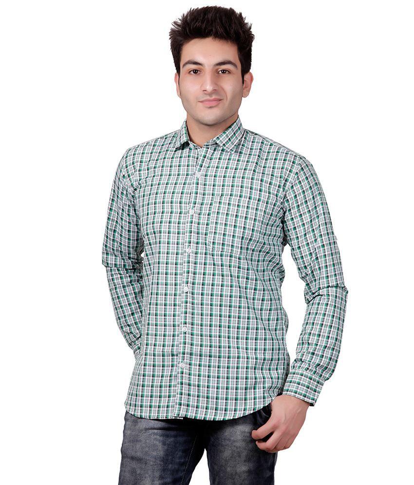 SN'C Green Casuals Regular Fit Shirt