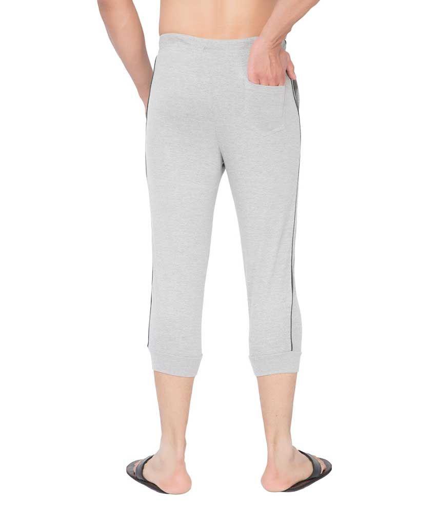 Clifton Fitness Men's Thin Stripe Comfort Capri- Grey Melange.Charcoal Melange