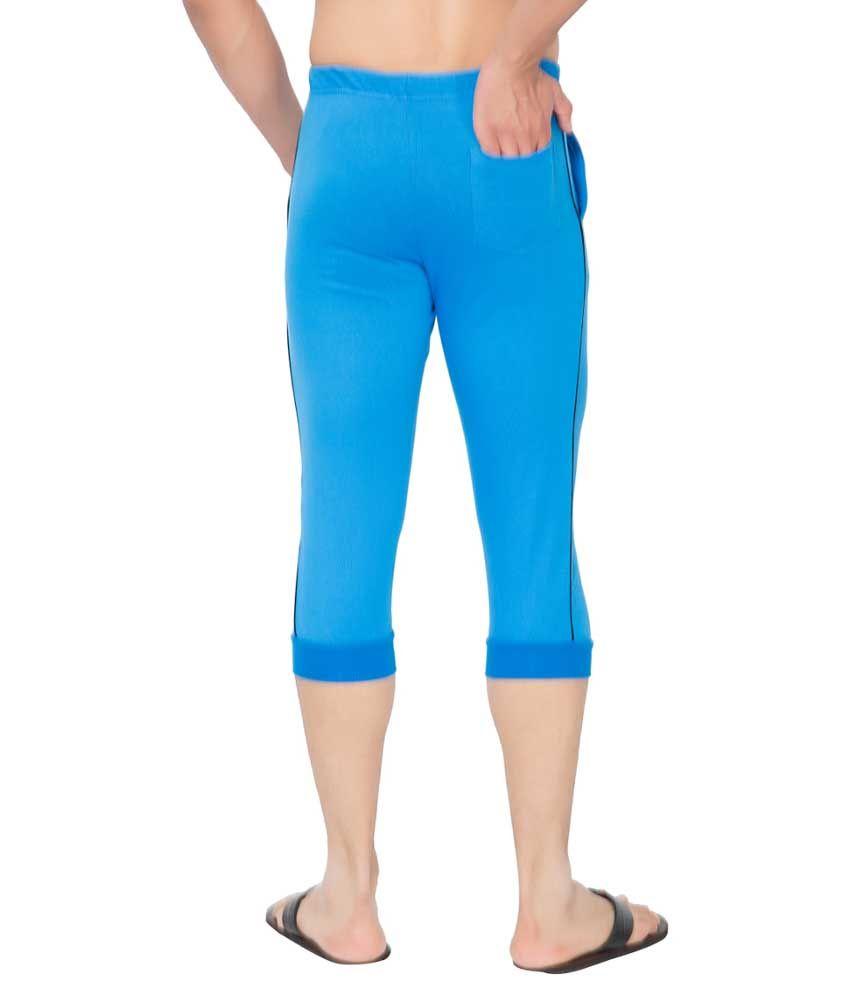 Clifton Fitness Men's Thin Stripe Comfort Capri- Royal Blue.Black