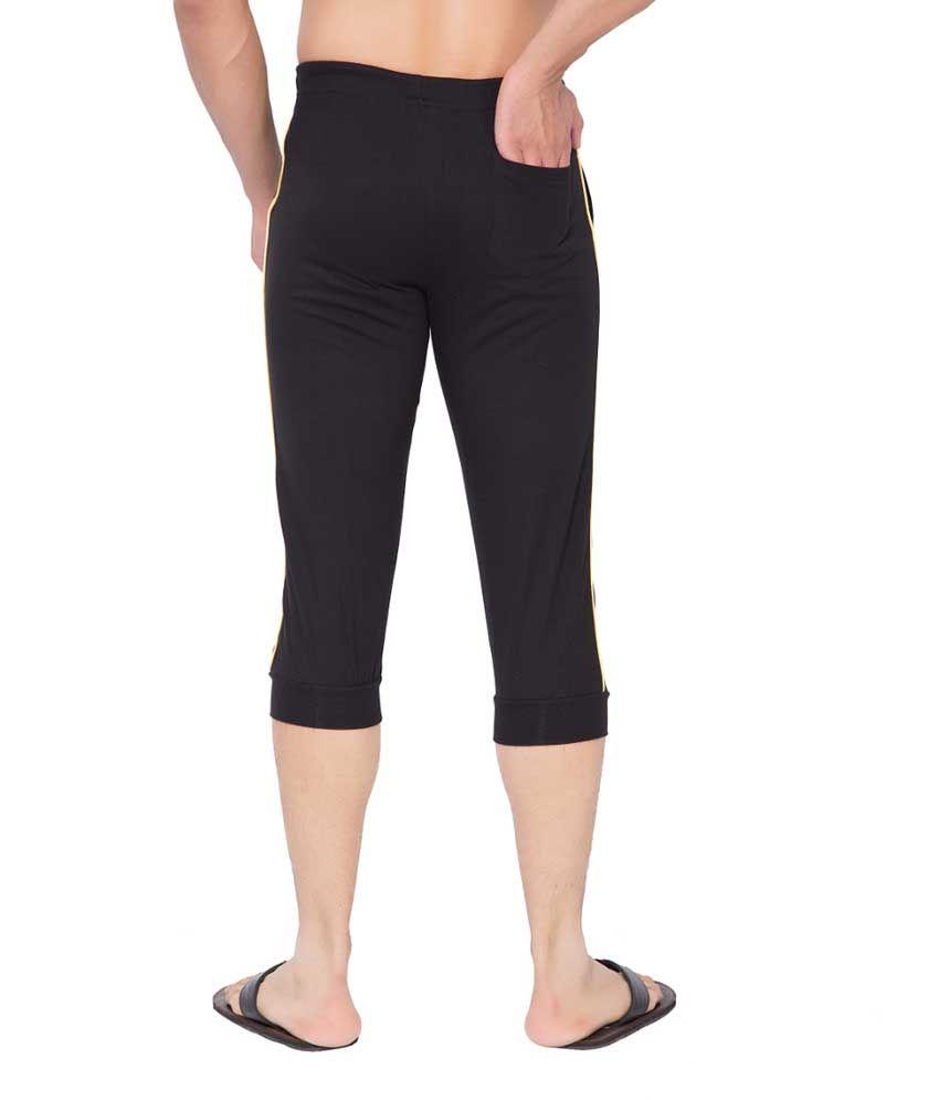 Clifton Fitness Men's Thin Stripe Comfort Capri- Black.Yellow