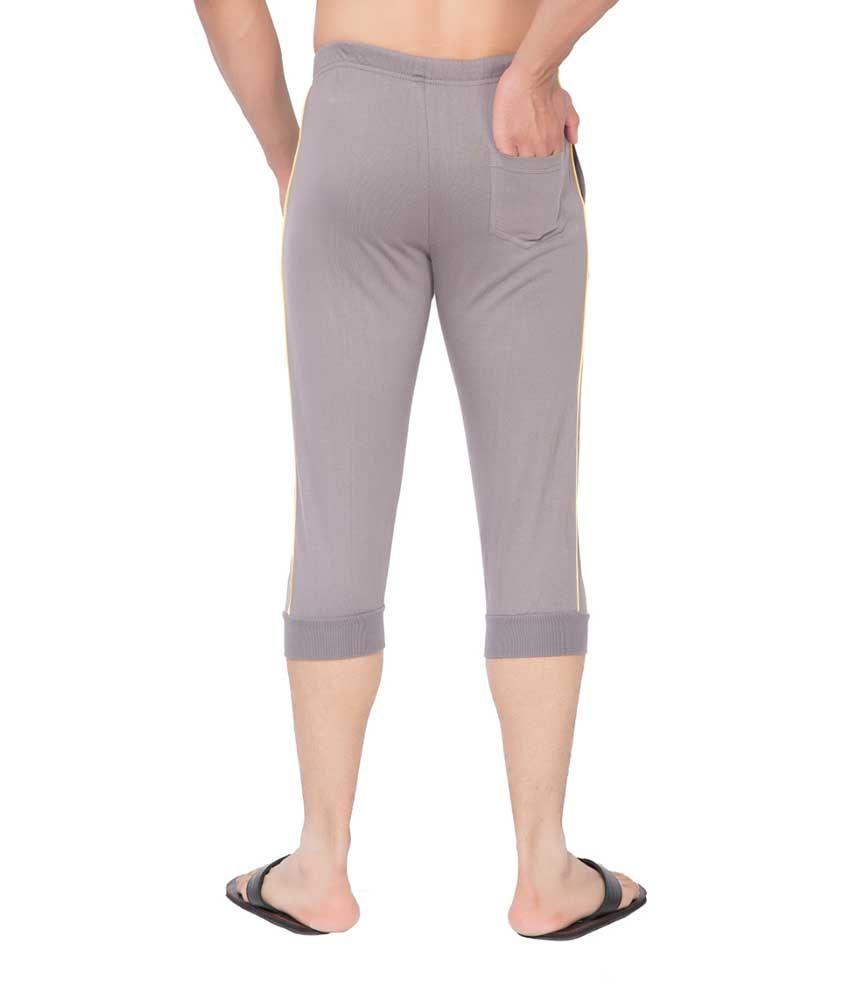 Clifton Fitness Men's Thin Stripe Comfort Capri- Steel Grey.Yellow