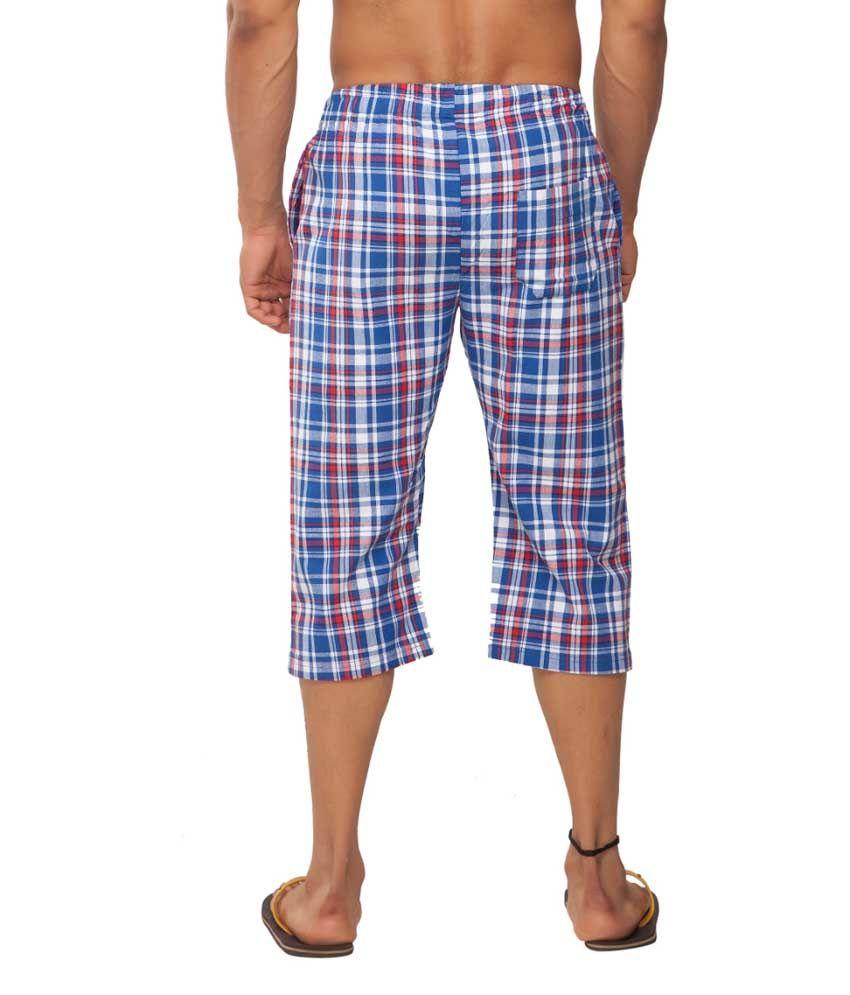 Clifton Fitness Men's Woven Capri- Blue/Red Checks