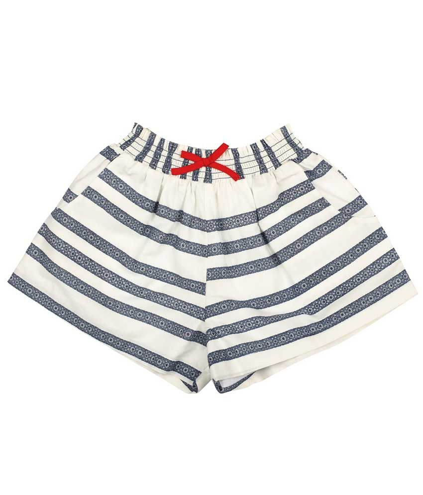 My Lil' Berry White Cotton Shorts For Girls
