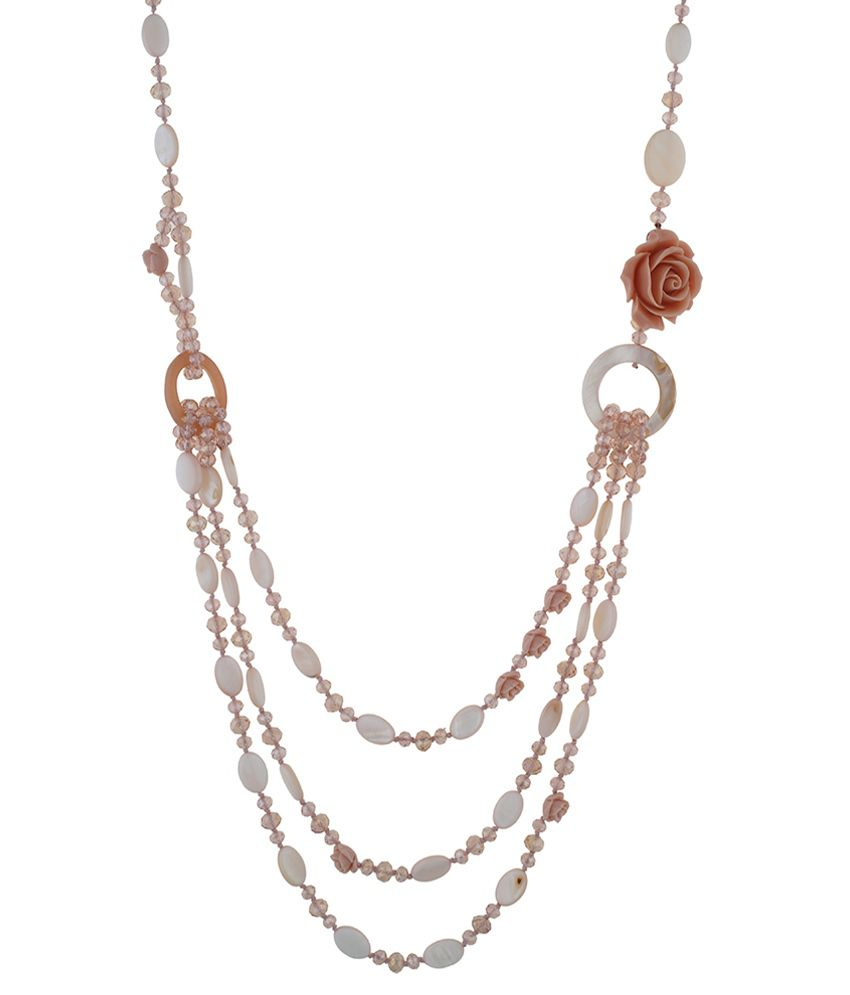 One Stop Fashion Pink & White Alloy Necklace