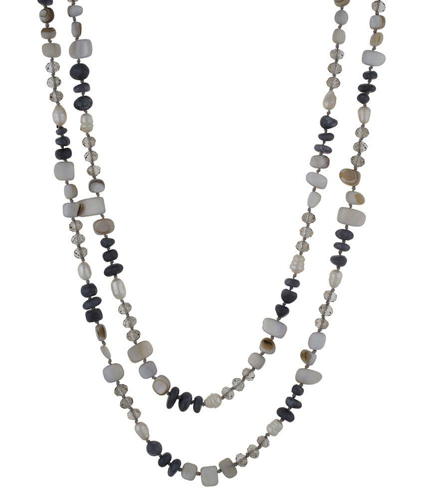 One Stop Fashion White & Black Alloy Necklace