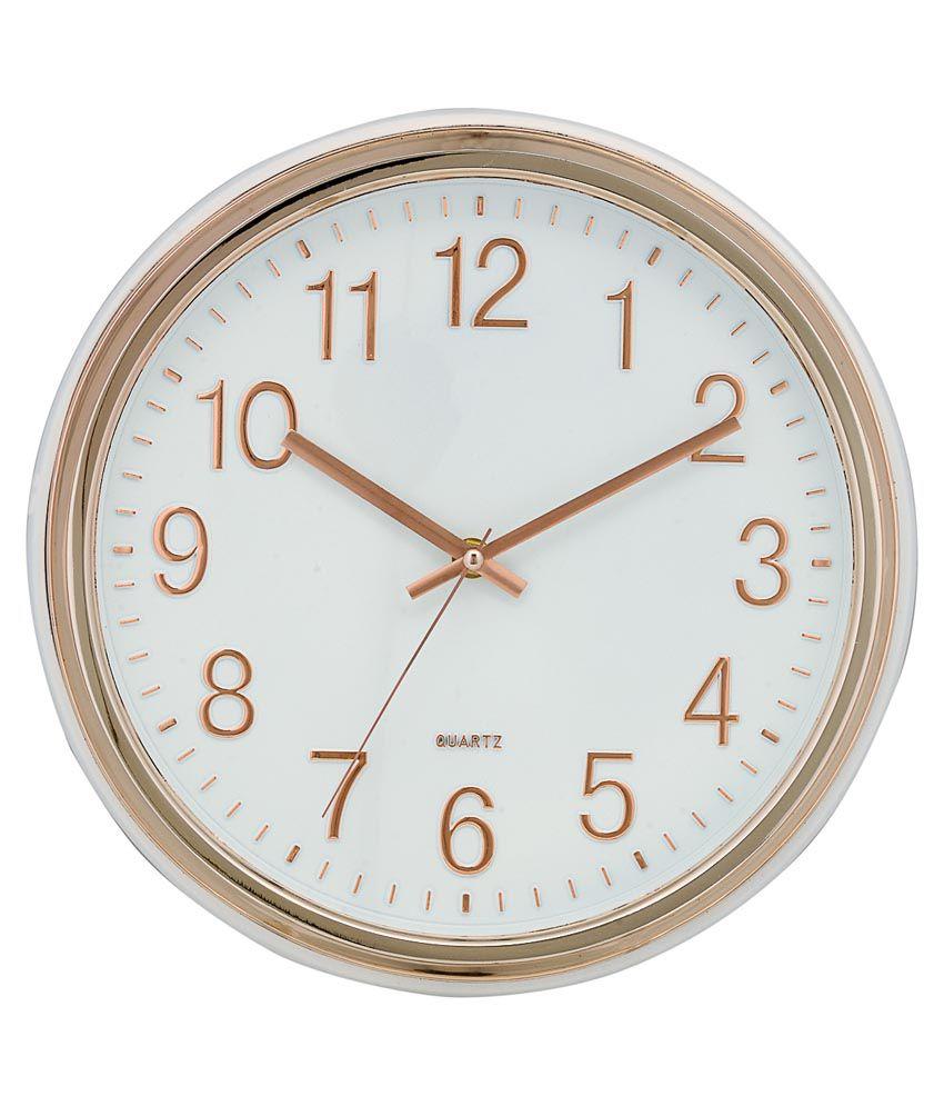 Basement Bazaar Pink & White Plastic 12 Inch Wall Clock ...