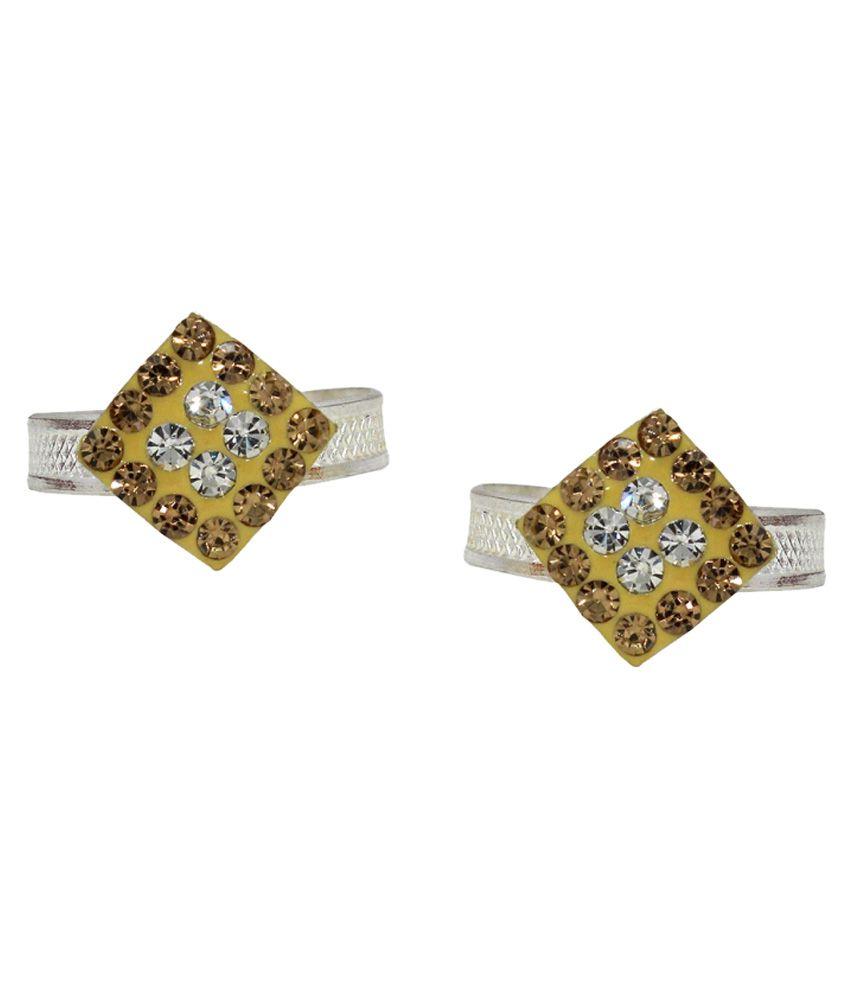 Bhavika Multicolour German Silver Toe Rings