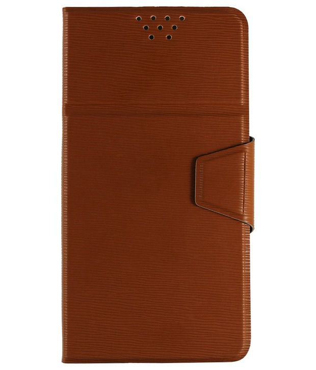 Molife Universal  Flip Cover For Magicon Ultrasmart Q50 Choco Brown