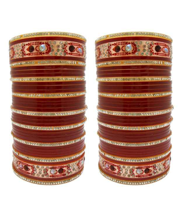 My Design Maroon Acrylic Bangle Set