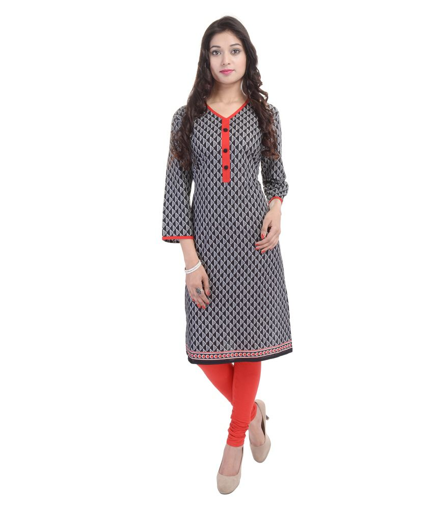Nancy Fashion Black Straight Cotton Kurti