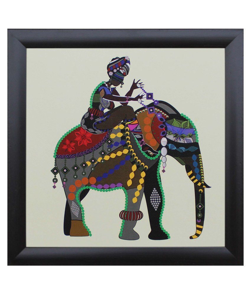 SAF Multicolour Animal Painting with Frame