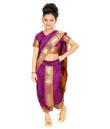 Bhartiya Paridhan Purple Saree For Girls