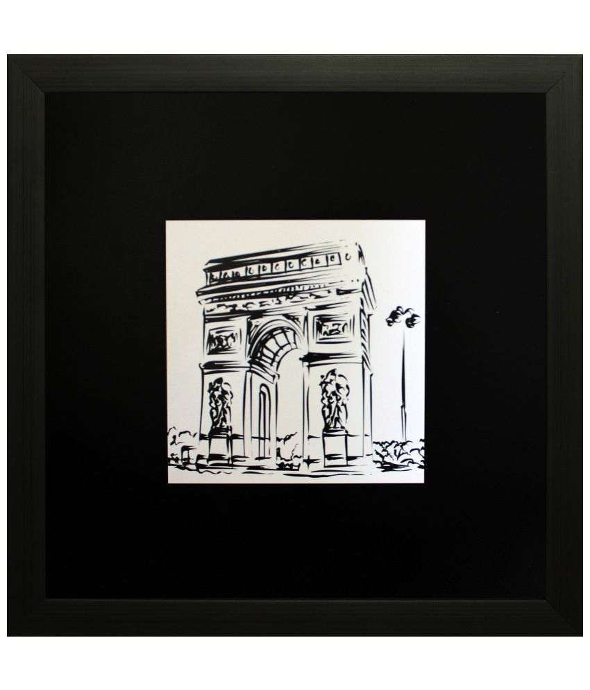 SAF Black & White Architecture Painting with Wooden Frame
