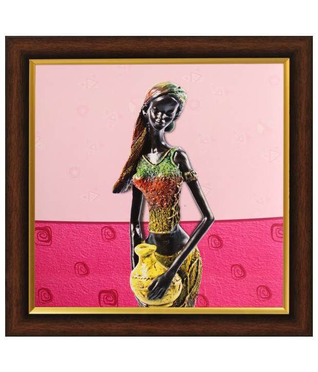 SAF Multicolour Folk Art Painting with Wooden Frame