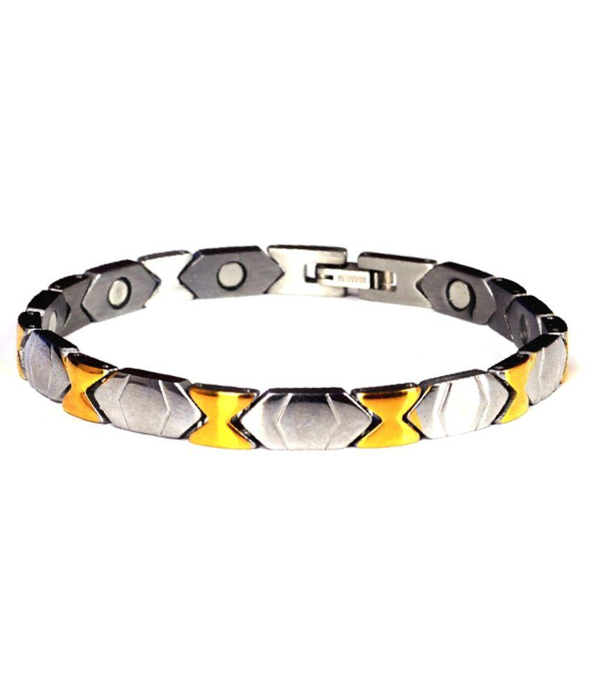 Amazheal Silver and Golden Titanium Bracelet