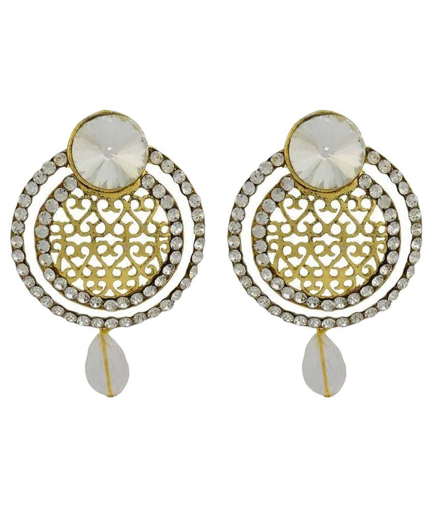 High Trendz Golden White Circle Designer Copper Stud Earring For Women/Girl