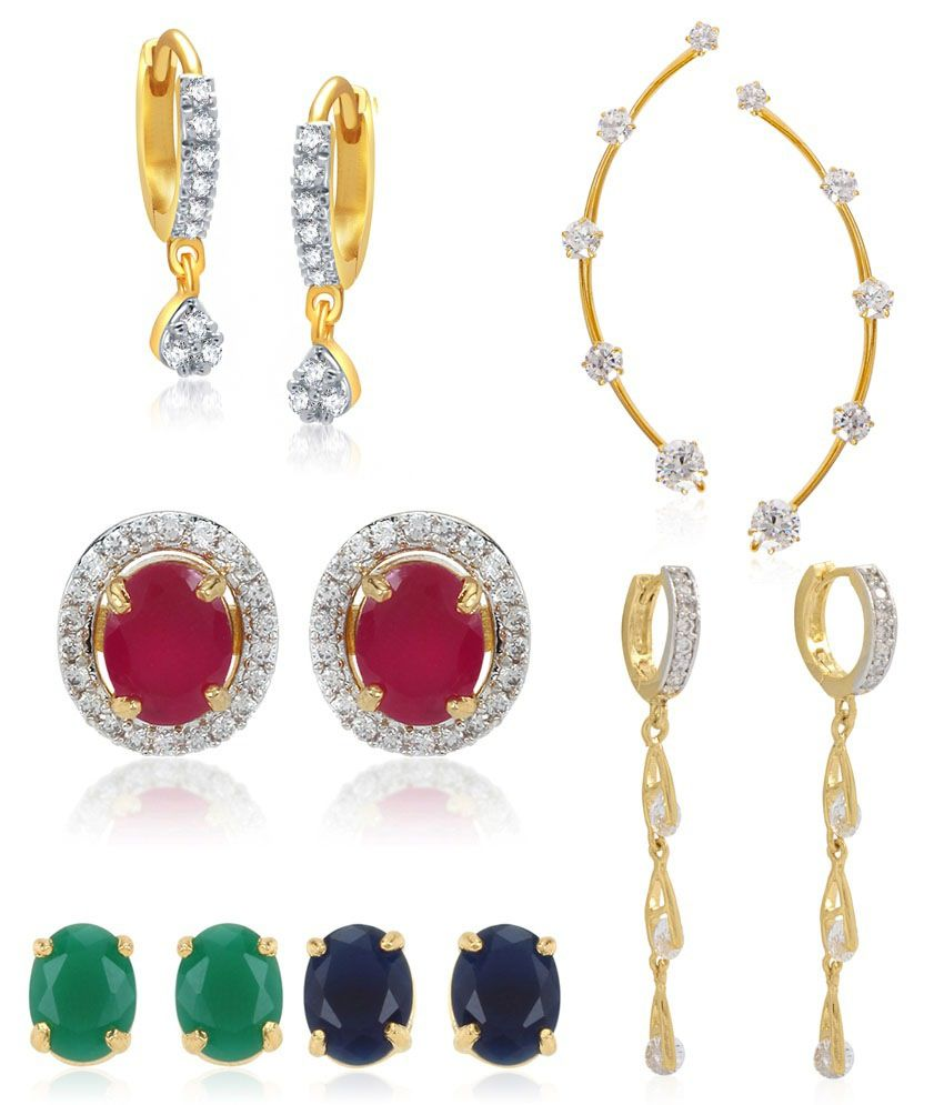 Jewels Gold Golden Alloy Earrings - Set of 6