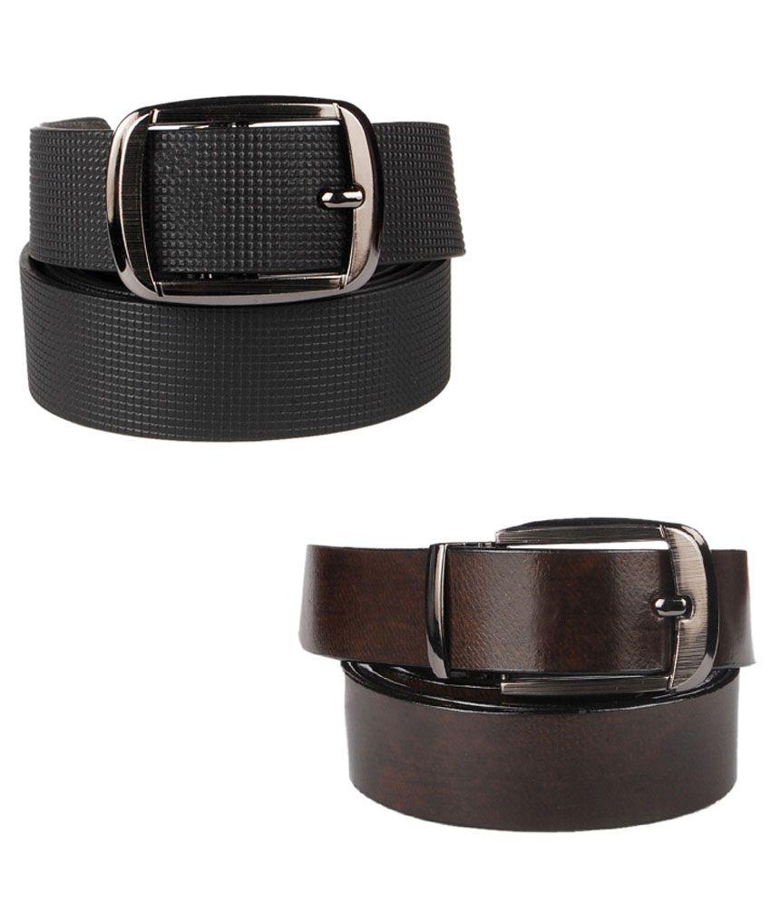 Lenin Black and Brown Leather Casual Belt for Men - Set of 2