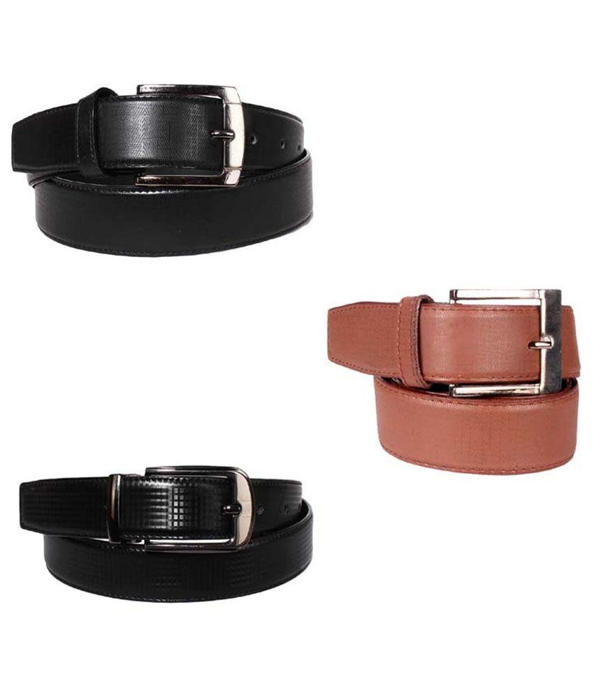 Lenin Black and Brown Leather Belt for Men - Pack of 3