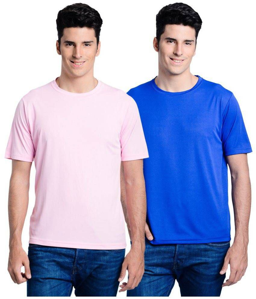Lime Pink Round T Shirts With Blue T-Shirt