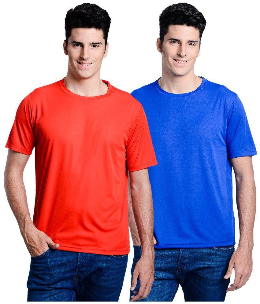 Lime Red Round T Shirts With Blue T-Shirt