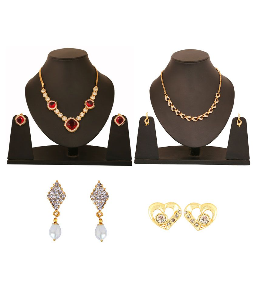 Touchstone Golden Alloy Combo Of 2 Necklace Set & 2 Pair Of Earrings