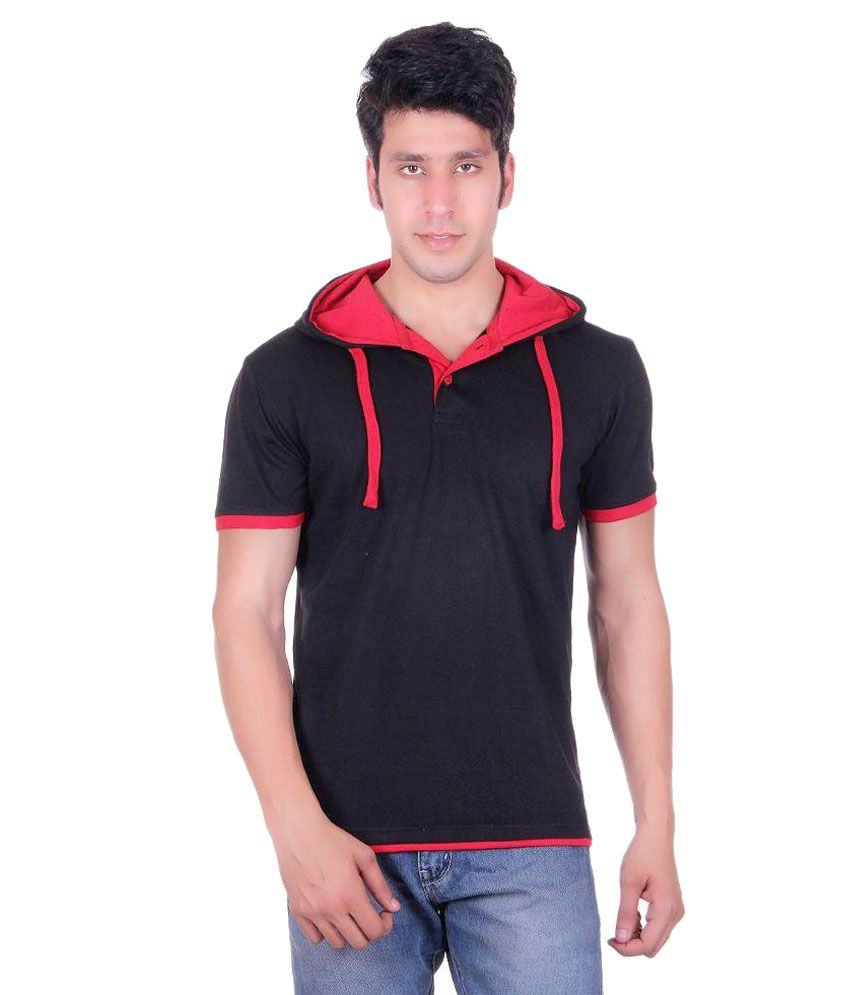Vivid Bharti Black Hooded T Shirt