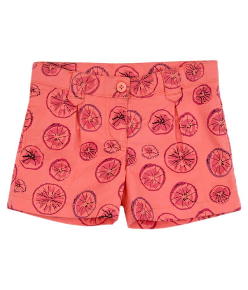 Aristot Orange 100% Cotton Shorts for kids girls
