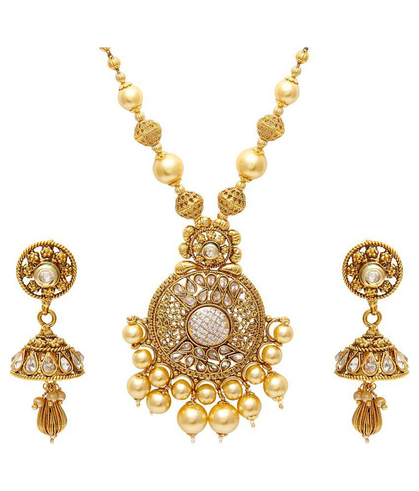 Jewels Galaxy Luxuria Designer Necklace Set With Royal Pearl Mala