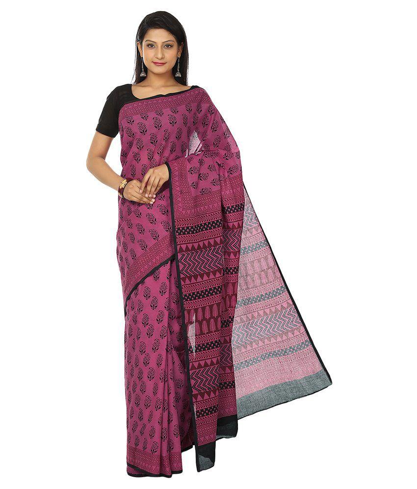 Kalakari India - Finest Quality Cotton - Handmade Pink And Black Booti - Bagh Block Print Saree With Blouse Piece