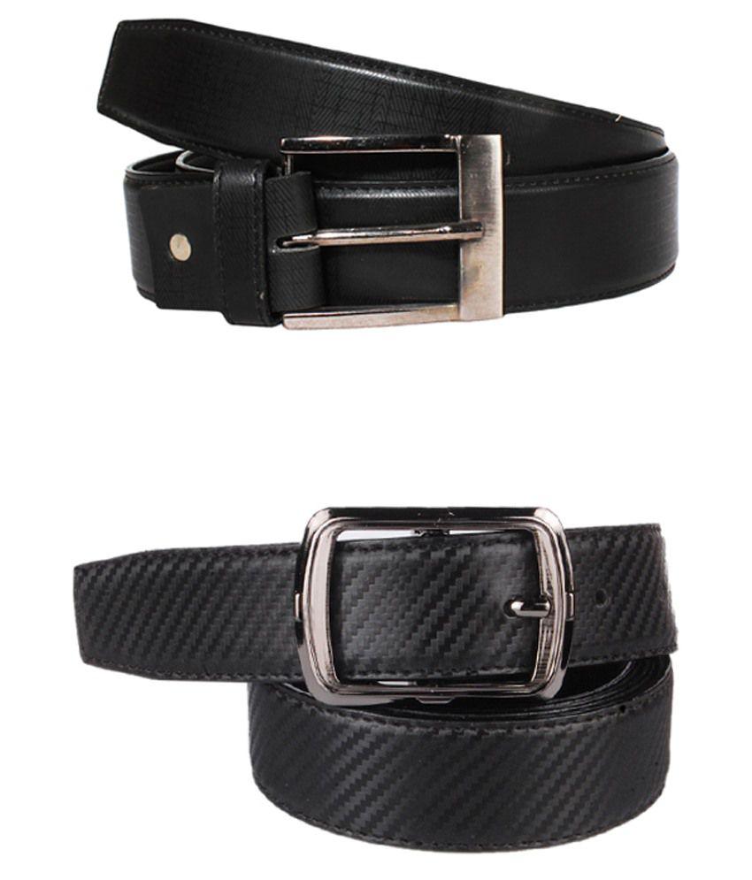 Lenin Black Leather Belts For Men Set Of 2