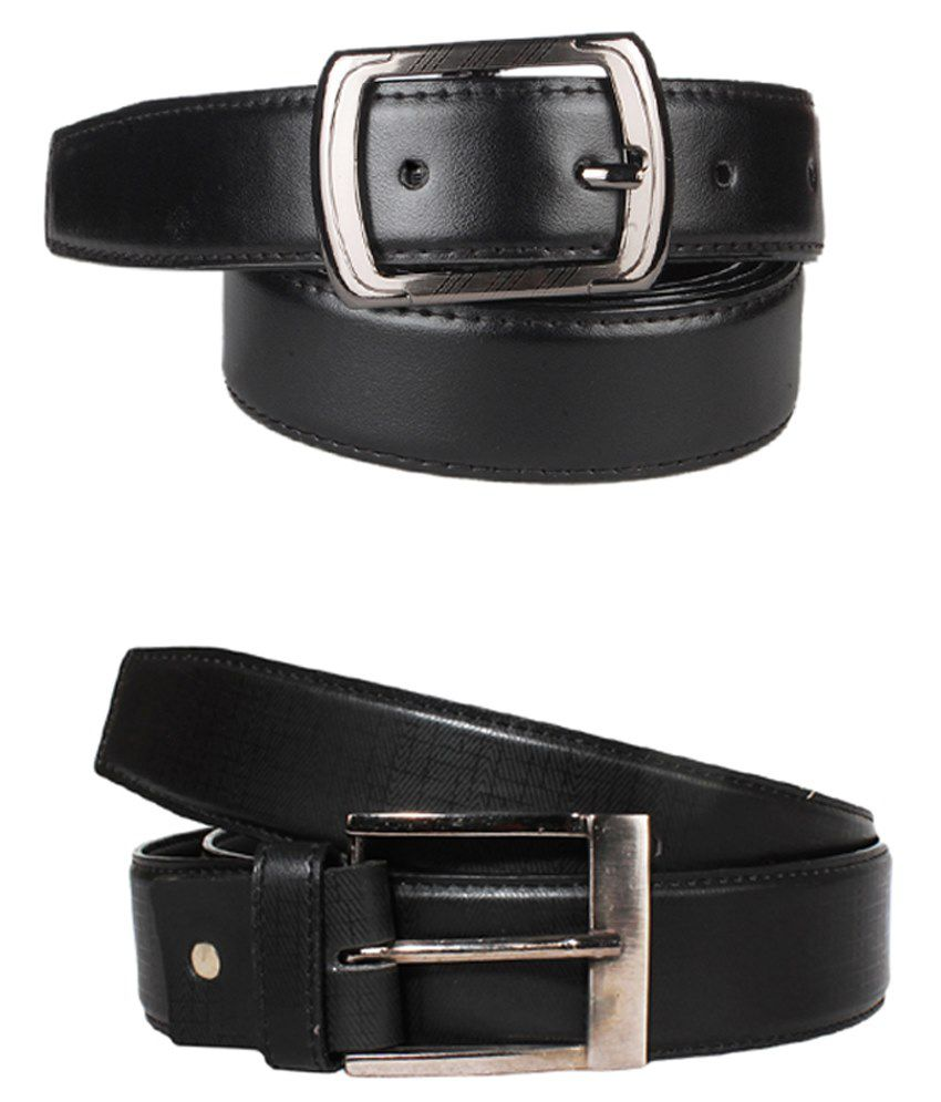 Lenin Black Leather Belts For Men Set Of 2