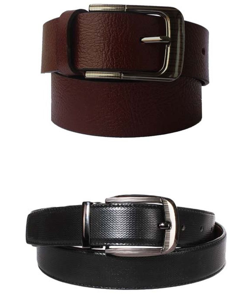 Lenin Combo of Brown & Black Leather Formal Belt for Men