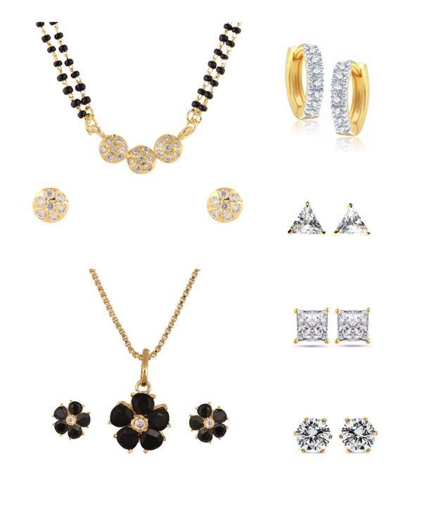 Parijaat Golden Alloy Mangalsutra Set with 1 Pendant Set, 1 Bali and 3 Stud Earrings