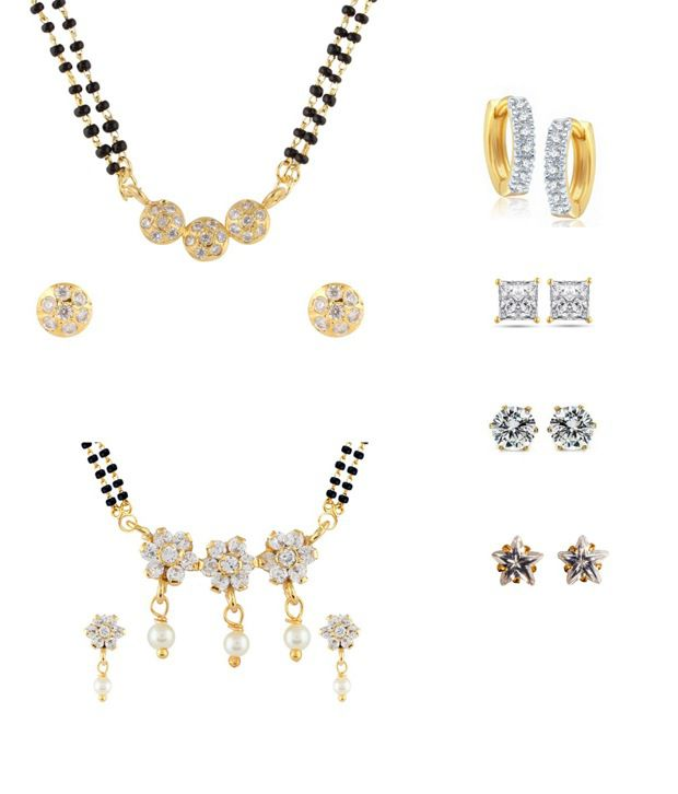 Parijaat Combo of 2 Gold Plated Mangalsutra Set, 1 Bali & 3 Stud Earrings